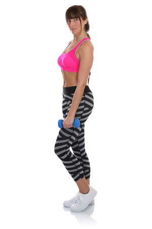 Workout Fitness Sports Woman Standing With Dumbbells Full Body