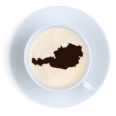 austria map: Coffee break in Austria map cup isolated on a white background