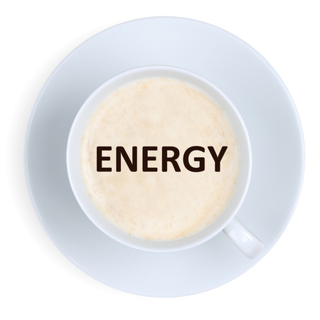 energy work: Coffee energy power strong at work office with cup isolated on a white background