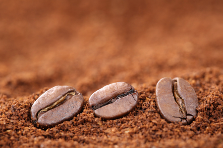 copyspace: Ground coffee beans with copy space copyspace Arabica Espresso Stock Photo