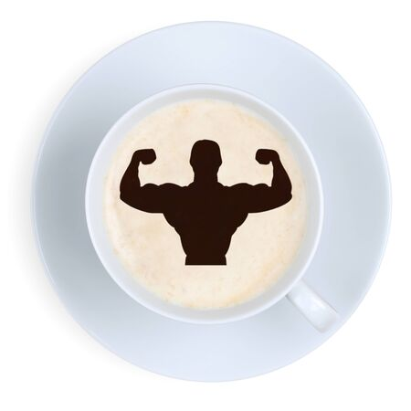 coffee foam: Coffee muscles fit energy power strong strength at work office with cup isolated on a white background