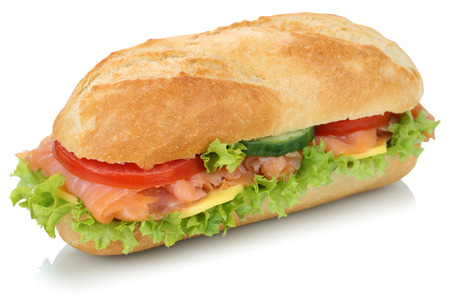 Sub deli sandwich baguette with salmon fish, cheese, tomatoes and lettuce isolated on a white background