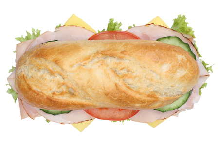 sandwich bread: Sub deli sandwich baguette with ham, cheese, tomatoes and lettuce top view isolated on a white background Stock Photo
