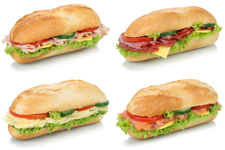 sandwich bread: Collection of sub deli sandwiches baguettes with salami, ham and cheese isolated on a white background