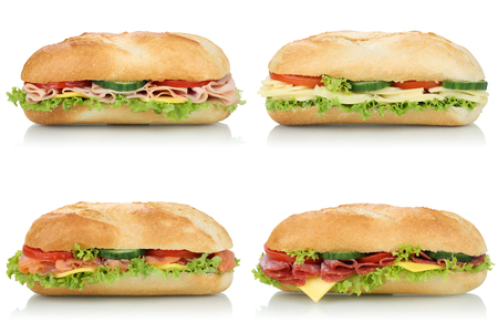 Colección de sub sandwiches barras de pan con salami, jamón y queso vista lateral aislados en un fondo blanco