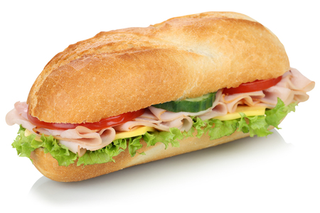 Sub deli sandwich baguette with ham, cheese, tomatoes and lettuce isolated on a white background