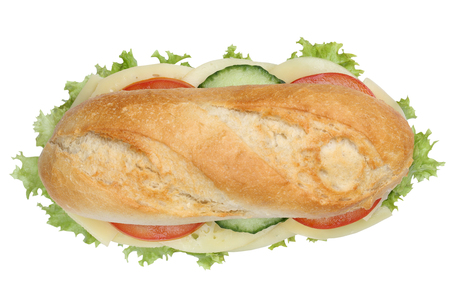 deli sandwich: Sub deli sandwich baguette with cheese, tomatoes and lettuce top view isolated on a white background