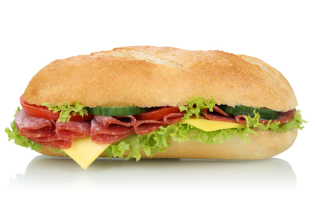 deli sandwich: Sub deli sandwich baguette with salami, cheese, tomatoes and lettuce side view isolated on a white background