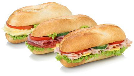Collection of sub sandwiches baguettes with salami, ham and cheese isolated on a white background