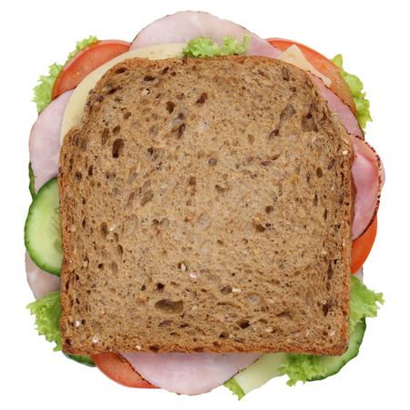 Sandwich toast bread for breakfast with ham, cheese, tomatoes, lettuce top view isolated on a white background