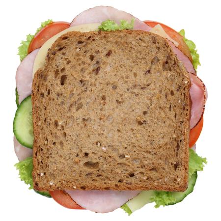 jamon y queso: tostar el pan de s�ndwich para el desayuno con jam�n, queso, tomate, lechuga vista desde arriba aislados en un fondo blanco