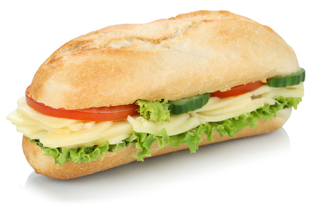 deli sandwich: Sub deli sandwich baguette with cheese, tomatoes and lettuce isolated on a white background Stock Photo