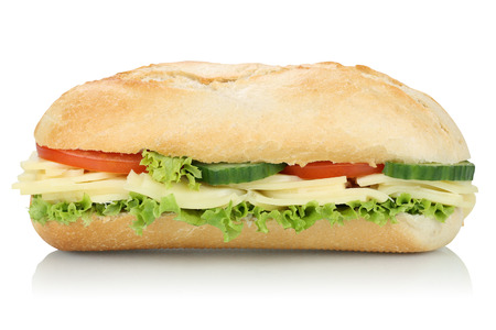 deli sandwich: Sub deli sandwich baguette with cheese, tomatoes and lettuce side view isolated on a white background Stock Photo