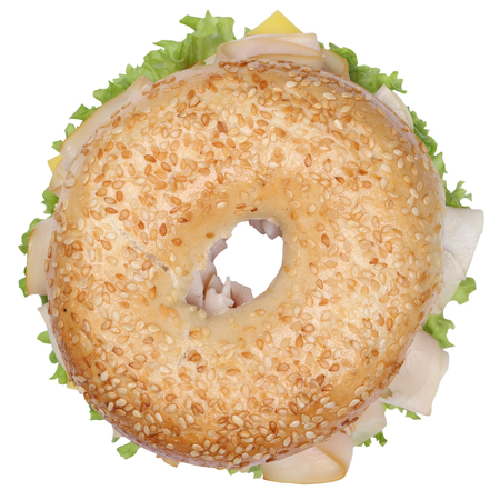 cream cheese: Bagel sandwich for breakfast with ham, cream cheese, tomatoes and lettuce top view isolated on a white background