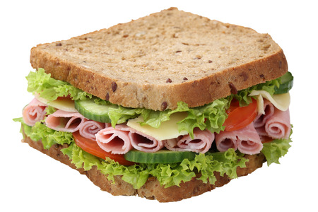 ham sandwich: Sandwich toast bread for breakfast with ham, cheese, tomatoes, lettuce isolated on a white background