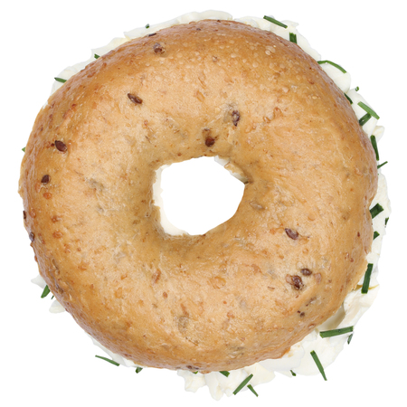 cream cheese: Bagel with cream cheese and parsley sandwich for breakfast top view isolated on a white background