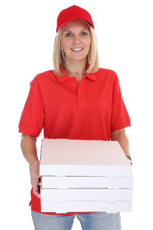 delivery box: Pizza delivery woman order delivering job young isolated on a white background