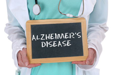 alzheimers: doctor with Alzheimers disease sign Stock Photo