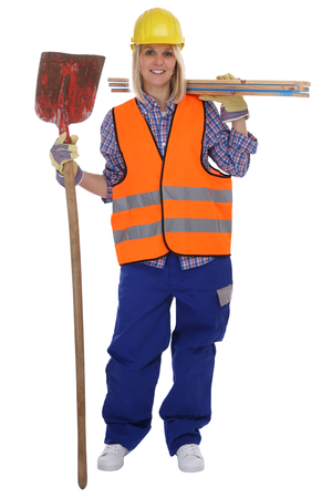 construction equipment: Young female construction worker woman job full body isolated on a white background
