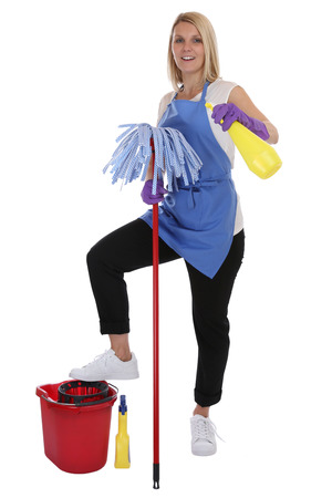 cleaning service: Cleaning lady service cleaner woman job occupation full body isolated on a white background