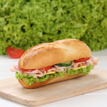 ham: Healthy eating sub deli sandwich baguette with ham, cheese, tomatoes and lettuce Stock Photo