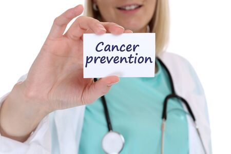 Cancer prevention screening check-up disease ill illness healthy health nurse doctor with sign Stock Photo