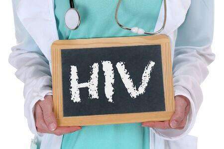 check up: HIV AIDS diagnosis disease ill illness healthy health doctor nurse with sign