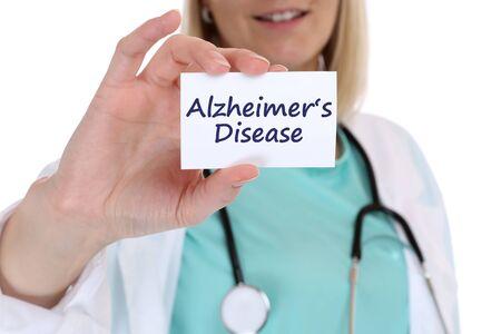 alzheimers: Alzheimers disease Alzheimer Alzheimers ill illness healthy health doctor nurse with sign