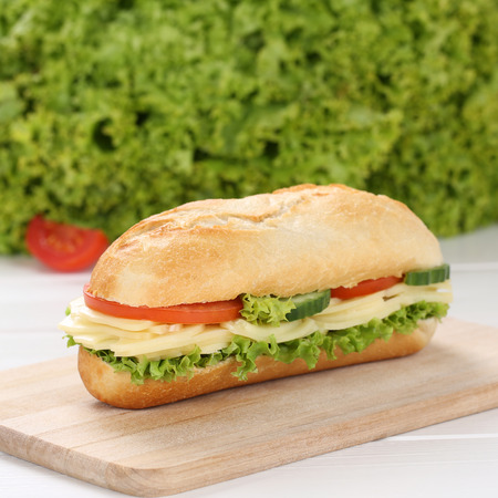 deli sandwich: Healthy eating sub deli sandwich baguette with cheese, tomatoes and lettuce