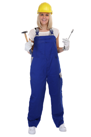 yourselfer: Craftsman woman female craftsmanship worker job standing isolated on a white background