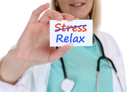 doctor burnout: Stress stressed relax relaxed burnout ill illness healthy doctor nurse with sign