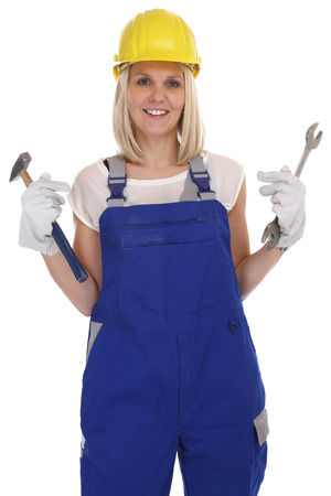 blonde females: Craftsman woman female craftsmanship worker job isolated on a white background Stock Photo
