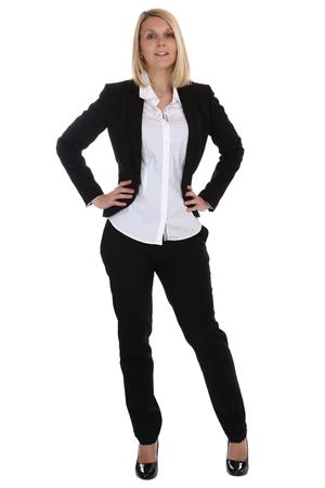 Jonge vrouw staan secretaresse baas manager baan beroep geïsoleerd op een witte achtergrond Stockfoto