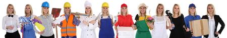 profesiones: Grupo de trabajadores de profesiones mujeres ocupación carrera de negocios aislados en un fondo blanco