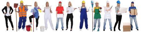 profesiones: Grupo de trabajadores de profesiones mujeres carrera ocupación negocio de pie aislado en un fondo blanco