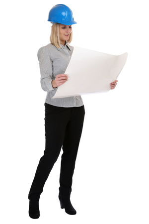blonde females: Architect young woman with plan woman occupation full body isolated on a white background