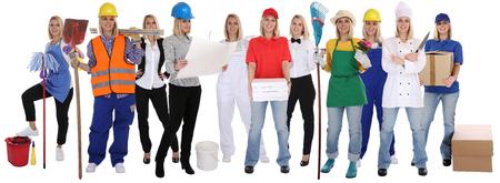 profesiones: Grupo de trabajadores de profesiones mujeres profesionales de pie carrera ocupación aislados en un fondo blanco