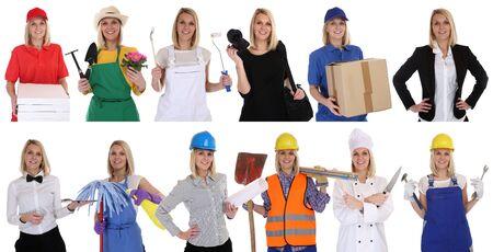 profesiones: Grupo de los trabajadores retrato profesiones mujeres de negocios retratos carrera aislado en un fondo blanco