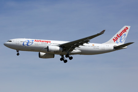 barajas: Madrid, Spain - March 5, 2015: An Air Europa Airbus A330-200 with the registration EC-LQO approaching Madrid Barajas Airport (MAD). Air Europa is an airline from Spain with its headquarters in Palma de Mallorca.
