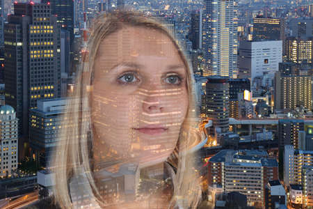 hoping: Business woman businesswoman portrait confidence hope city double exposure confident hoping Stock Photo