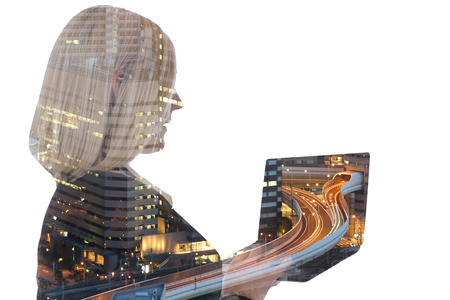 Business woman businesswoman with laptop computer internet city double exposure
