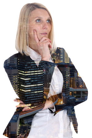 hoping: Business woman businesswoman thinking think confidence hope city double exposure hoping