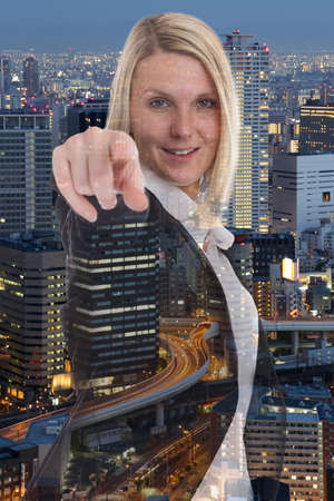 deciding: Businesswoman business woman choosing searching finding deciding double exposure find search Stock Photo