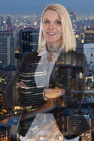 blonde females: Business woman businesswoman portrait smiling manager city double exposure town Stock Photo