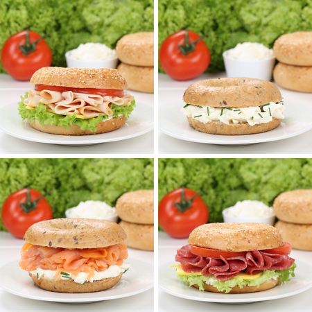 eating pastry: Healthy eating collection of bagels with cream cheese, salmon, salami, tomatoes and ham for breakfast