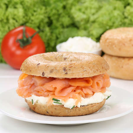 bagel: Healthy eating bagel for breakfast with salmon fish and cream cheese