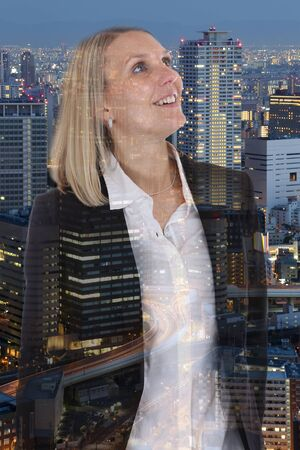 hoping: Business woman businesswoman freedom free smiling confidence hope double exposure confident hoping Stock Photo