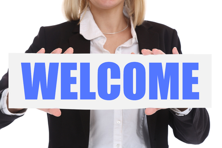 hospitality staff: Businesswoman business concept with welcome employee staff employees refugees customer Stock Photo