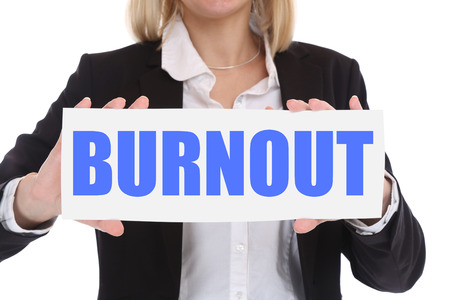 burnout: Burnout ill illness stress stressed at work overworked businesswoman business concept