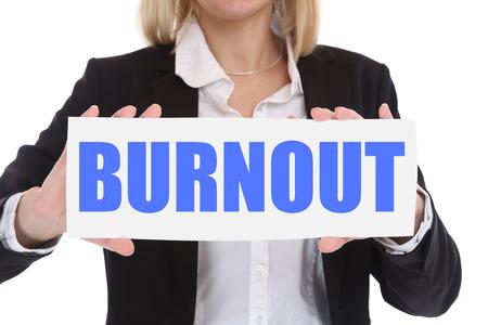 destress: Burnout ill illness stress stressed at work overworked businesswoman business concept